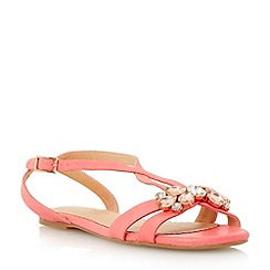 Head Over Heels by Dune - Red  embellished cross over flat sandal