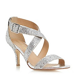 Head Over Heels by Dune - Silver kitten heel glitter crossover strap sandal