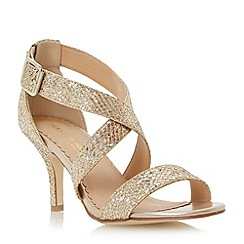 Head Over Heels by Dune - Gold kitten heel glitter crossover strap sandal