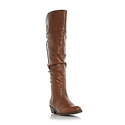 Head Over Heels by Dune - Tan 'Tammy' ruched knee high boot