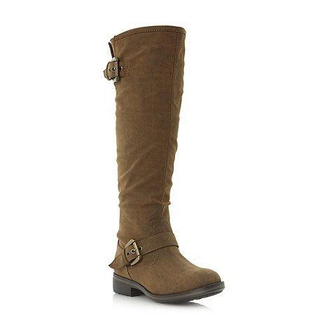 Head Over Heels by Dune - Brown zipped back knee-high boot