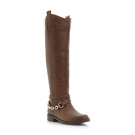 Head Over Heels by Dune - Brown snaffle detail high leg boot