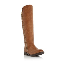 Head Over Heels by Dune - Tan 'Trusty' quilted back riding boot