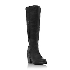 Head Over Heels by Dune - Black 'Tuffles' block heel knee high boot