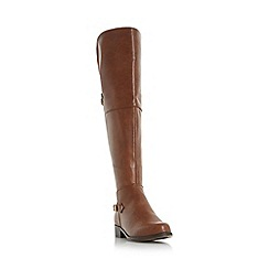 Head Over Heels by Dune - Tan 'Tippi' buckle trim over the knee boot