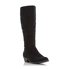 Head Over Heels by Dune - Black 'Tarlia' ruched knee high boot