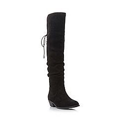 Head Over Heels by Dune - Black 'Tammy' ruched knee high boot
