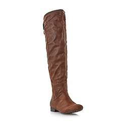 Head Over Heels by Dune - Tan flat suede-look over knee boot