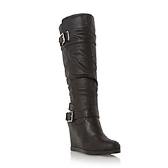 Head Over Heels by Dune - Black-synthetic 'Tantor' buckle knee high wedge boot