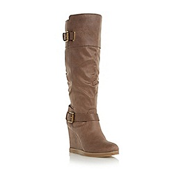 Head Over Heels by Dune - Neutral buckle knee high wedge boot