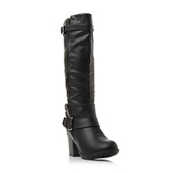 Head Over Heels by Dune - Black 'Tizzle' buckle detail knee high boot
