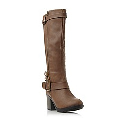 Head Over Heels by Dune - Brown 'Tizzle' buckle detail knee high boot