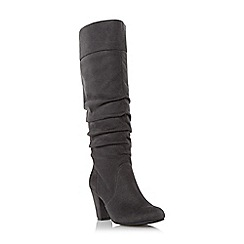 Head Over Heels by Dune - Grey 'Sadira' ruched dressy knee high boot