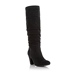 Head Over Heels by Dune - Black 'Sadira' ruched dressy knee high boot