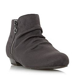 Head Over Heels by Dune - Grey 'Pammy' ruched detail side zip ankle boot