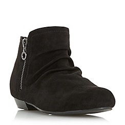 Head Over Heels by Dune - Black 'Pammy' ruched detail side zip ankle boot