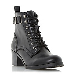 Head Over Heels by Dune - Black 'Priya' ankle strap buckle boot