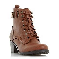Head Over Heels by Dune - Tan 'Priya' ankle strap buckle boot