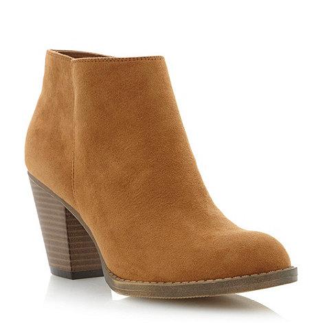 Head Over Heels by Dune - Brown mid heel ankle boot