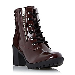 Head Over Heels by Dune - Maroon 'Parlay' cleated heeled lace up boot