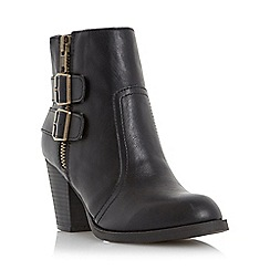 Head Over Heels by Dune - Black 'Pardonne' buckle and zip detail ankle boot