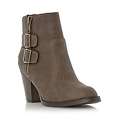 Head Over Heels by Dune - Taupe 'Pardonne' buckle and zip detail ankle boot