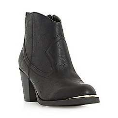 Head Over Heels by Dune - Black 'Paityn' metal detail western ankle boot