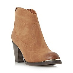 Head Over Heels by Dune - Tan 'Paityn' metal detail western ankle boot