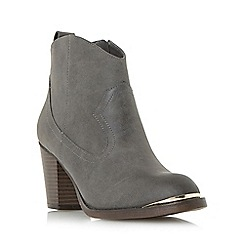 Head Over Heels by Dune - Taupe 'Paityn' metal detail western ankle boot