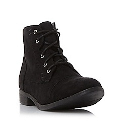 Head Over Heels by Dune - Black 'Paola' toecap detail lace up ankle boot