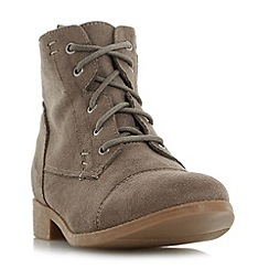 Head Over Heels by Dune - Taupe 'Paola' toecap detail lace up ankle boot