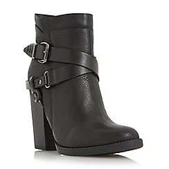 Head Over Heels by Dune - Black 'Posey' cross strap and buckle trim western boot