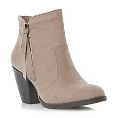 Head Over Heels by Dune - Grey cuban heel side zip ankle boot