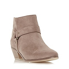 Head Over Heels by Dune - Taupe 'Penley' side hardware detail ankle boot