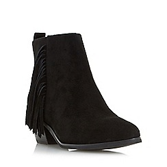 Head Over Heels by Dune - Black 'Petrela' pointed toe fringe ankle boot