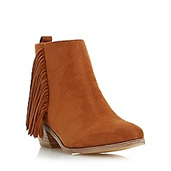 Head Over Heels by Dune - Tan 'Petrela' pointed toe fringe ankle boot