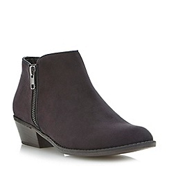 Head Over Heels by Dune - Black double zip ankle boot