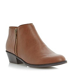 Head Over Heels by Dune - Brown double zip ankle boot