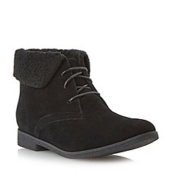 Head Over Heels by Dune - Black faux shearling lined ankle boot