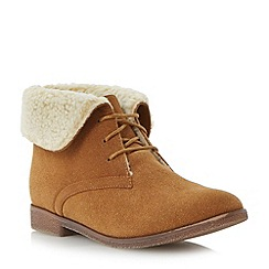 Head Over Heels by Dune - Tan faux shearling lined ankle boot