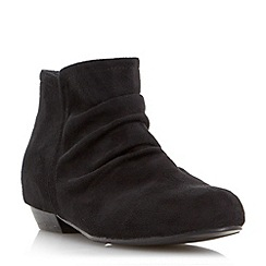 Head Over Heels by Dune - Black flat ruched ankle boot