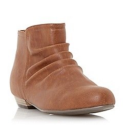 Head Over Heels by Dune - Tan 'Patties' flat ruched ankle boot