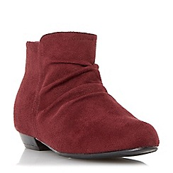 Head Over Heels by Dune - Red flat ruched ankle boot