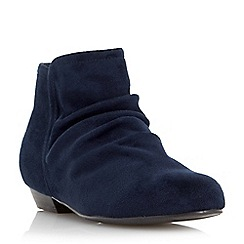 Head Over Heels by Dune - Blue flat ruched ankle boot