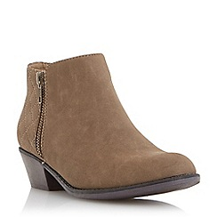 Head Over Heels by Dune - Taupe 'Pappa' quilted back zip ankle boot