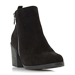 Head Over Heels by Dune - Black 'Peony' block heel side zip ankle boots