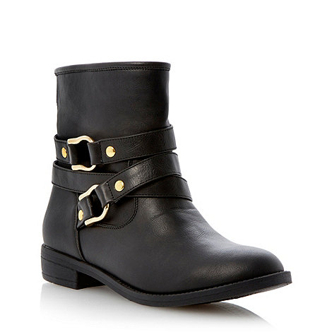 Head Over Heels by Dune - Black wrap around strap detail ankle boot