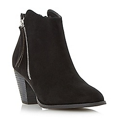 Head Over Heels by Dune - Black 'Patel' zip detail round toe ankle boot