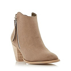 Head Over Heels by Dune - Taupe 'Patel' zip detail round toe ankle boot