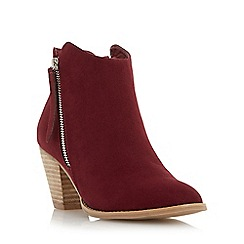 Head Over Heels by Dune - Maroon 'Patel' zip detail round toe ankle boot